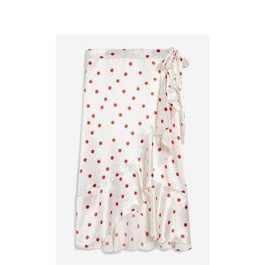 NEW Red/white Topshop polka dot silk skirt